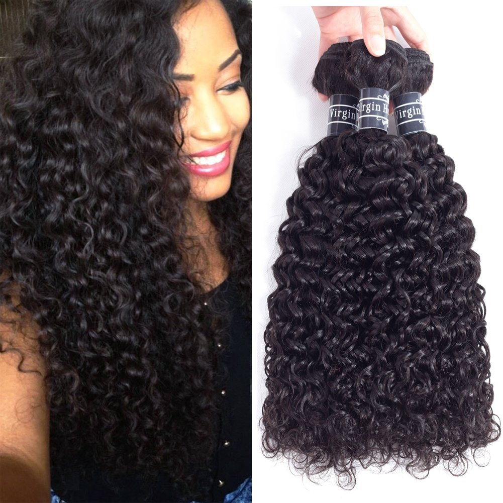 Amella Hair Brazilian Curly Hair 3 Bundles 20 22 24 inch Curly Hair 100% Unprocessed Virgin Human Hair Weaves Natural Black Color