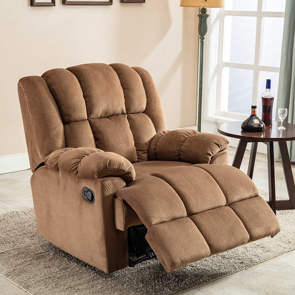 SSLine Home Theater Seating Brown Fabric Recliner Chair Modern Single Sofa Lounge Couch Bed for Living Room Bedroom Luxurious Upholstery Reclining Sofa with Thick Cushion Seat and Pocket Spring by SSLine