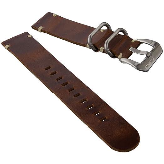 3 opinioni per Cinturino orologio ZULUDIVER® Vera pelle 2 Pezzo ZULU Marrone 20mm