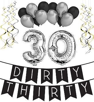 Sterling James Co Dirty Thirty 30 Geburtstag Party Set Schwarz