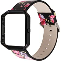 Sunbona for Fitbit Blaze Smart Watch Braceulet Band, Durable Leather Floral Printing Sports Bracelet Replacement Wrist Strap + Watch Frame Holder Shell (A)