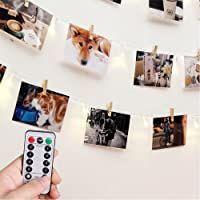 Photo Clip String Lights with Remote & Timer - RECESKY 40 LED 8.5m Fairy Battery Operated Hanging Photo Frames Light for Outdoor, Indoor, Wall, Home, Bedroom, Christmas Decorations
