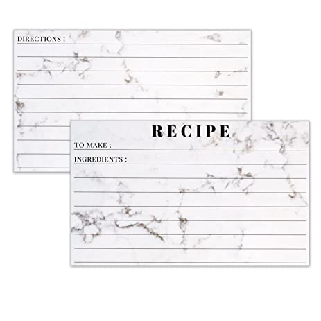 AmazonCom Recipe Cards  X Marble Lined Note Card For Recipes