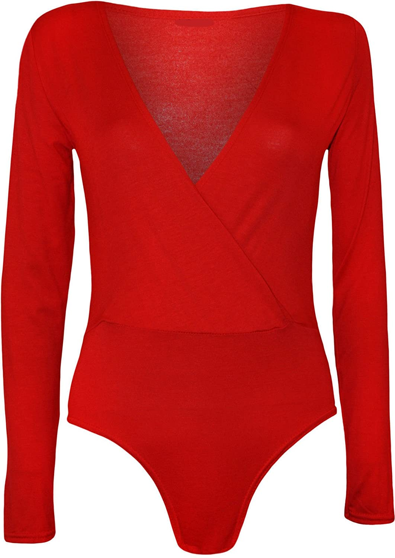 GirlzWalk ® Women Plain Wrap Over Plunge Long Sleeve Leotard Bodysuit Top