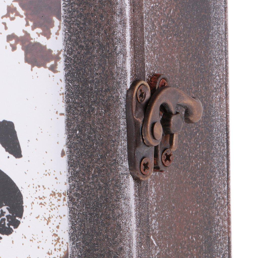 as described Vintage Wooden Box Key Storage Case Hanger Shelf Organizer Container Black