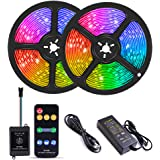 YORMICK 32.8 feet300LED Chasing Effect Waterproof DreamColor LED Strip Lights Music Sync with RF Remote Control for Home Kit