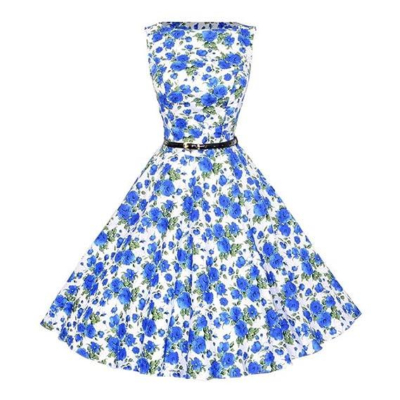 Vestido de mujer, ❤️Xinantime vestidos de fiesta Vestido sin mangas floral de las mujeres del vintage Vestido de fiesta de noche casual Swing Dress: ...