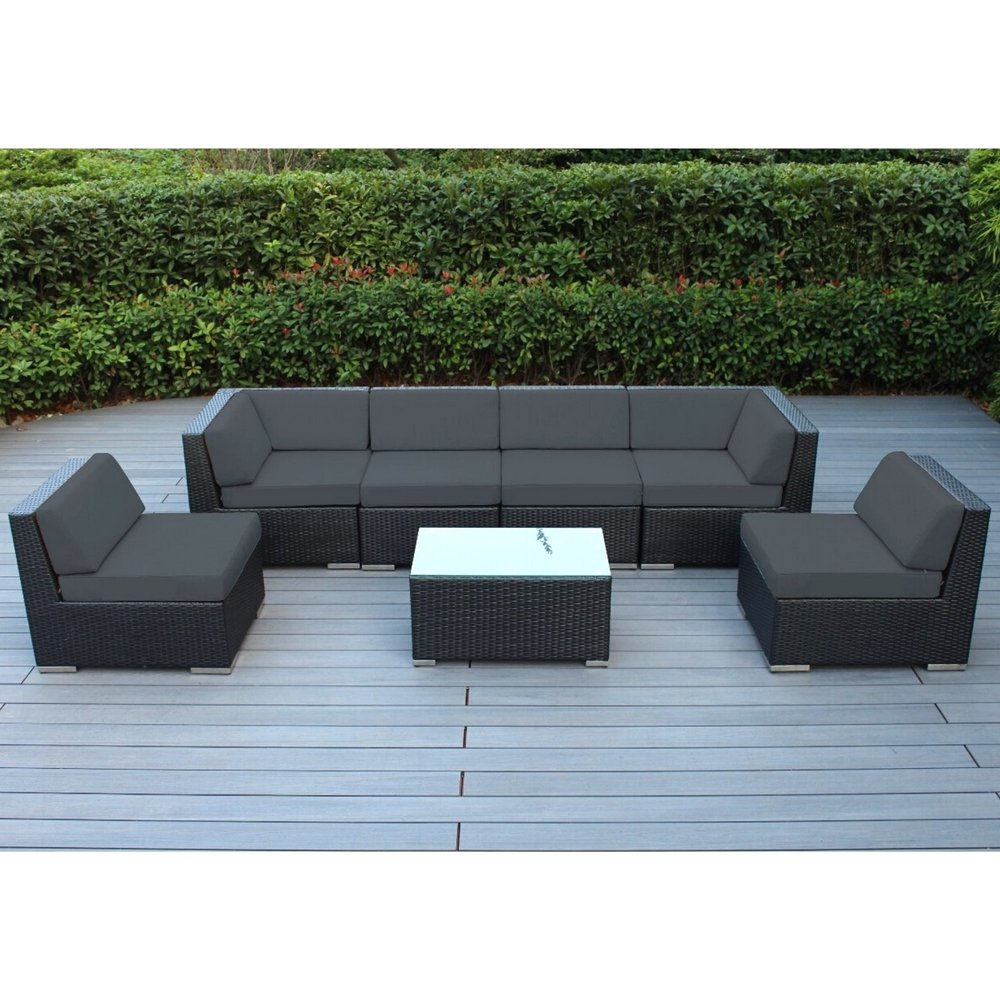 Resin Garden Furniture Outdoor Furniture Sectional Sofa 7 Pc Resin Patio 2 Corner Chairs 4 Armless  Chairs 1 Coffee Table Water And UV Resistan Lounge Set Pool Side Relax  Black ...