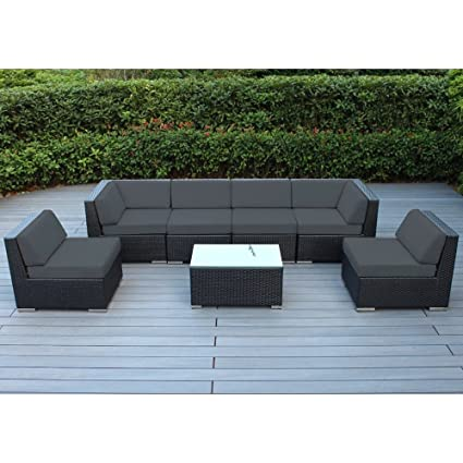 Amazon Com Outdoor Furniture Sectional Sofa 7 Pc Resin Patio 2