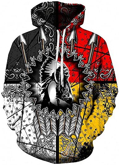 Native American Indian Hooded Sweatshirt Warrior Chief Pullover Hoodie Men/'s New