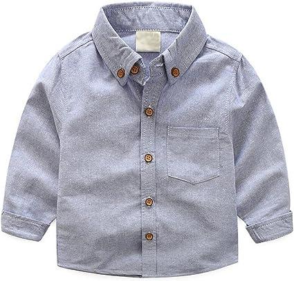ZGJQ Informal Camisa De Color Sólido del Bebé Marea Algodón De Manga Larga Camisa Blanca Niños De Los Niños, Blue-120cm: Amazon.es: Ropa y accesorios