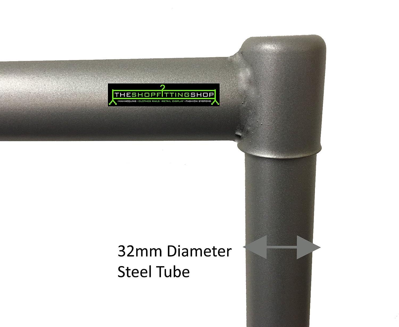 The Shopfitting Shop Heavy Duty Plata Gris Ropa Rail 5/ft Largo x 5/ft Alto Garment Almacenamiento Rack 32/mm de Tubo de Acero