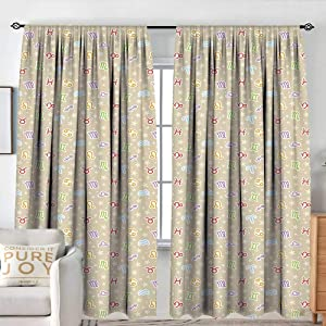 """NUOMANAN Pattern Curtains Astrology,Doodle Style Pattern with Faded Stars and Lively Colored Horoscope Signs,Tan Multicolor,Rod Pocket Curtain Panels for Bedroom & Kitchen 84""""x100"""""""