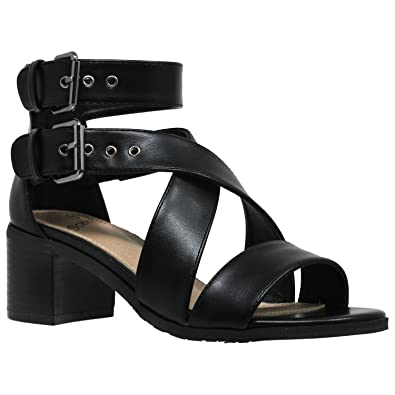 09ec5d200aec Womens Dress Sandals Strappy Buckle Accent Chunky Block Low Heel Shoes Black  SZ 5