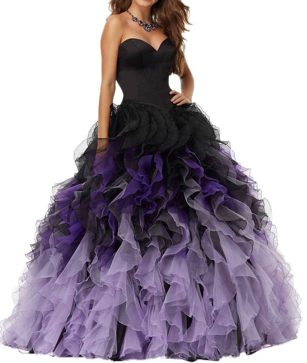 MEILIS 2016 Sweethart Ball Gown Puffy Ombre Organza Prom Dresses Long Quinceanera Black Lilac