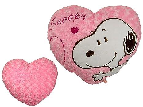 Amazon.com: Rosa Forma De Corazón Snoopy – Almohada (Snoopy ...