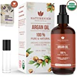 Naturenics Moroccan Argan Oil |100% Pure Certified USDA Organic Cold Pressed - Moisturizing Solution for Face, Hair, Skin & Nails | Roll On & eBook- 4 Fl Oz