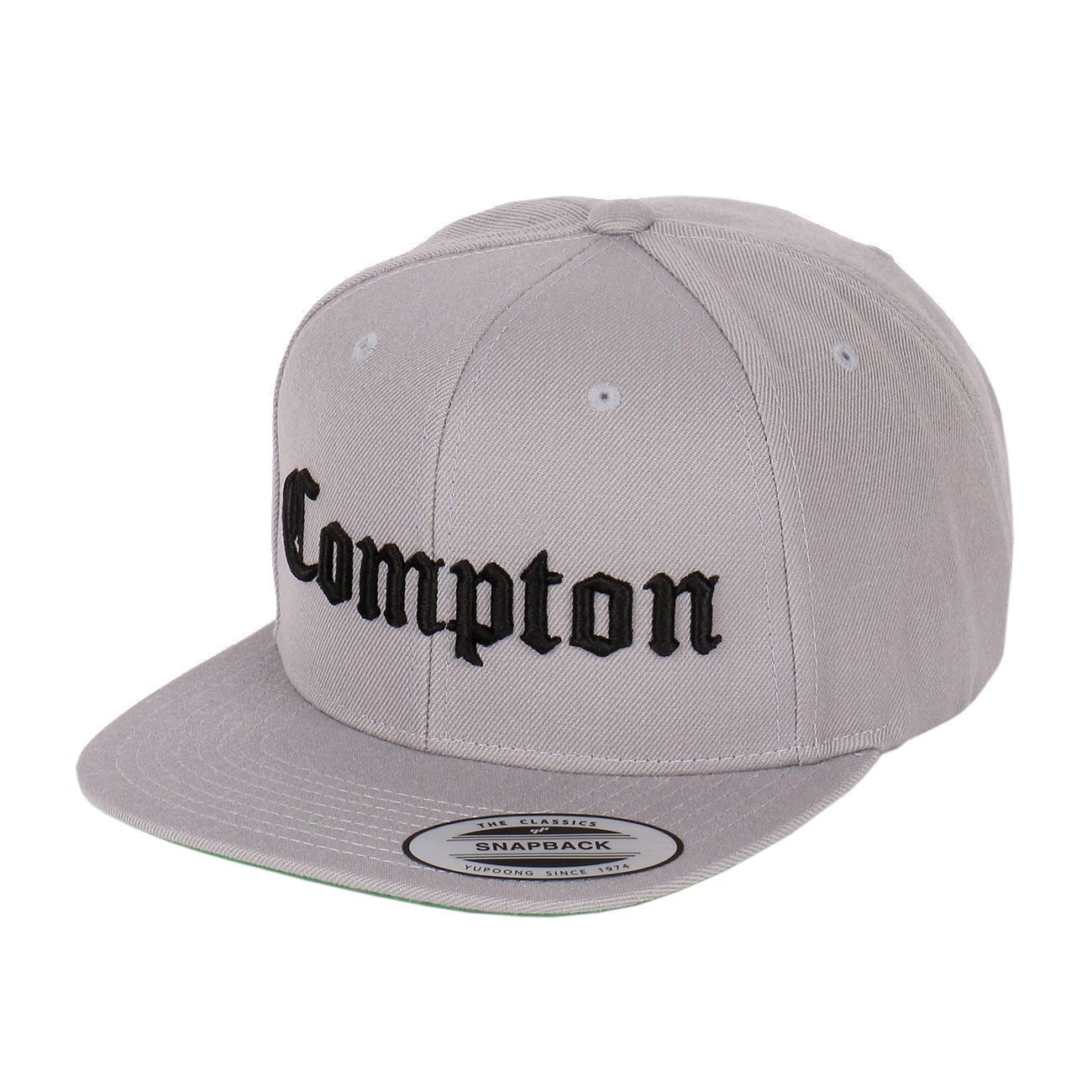 498ac41966b Compton Embroidery Flat Bill Adjustable Yupoong Cap by Flexfit (More  Colors) (Black) at Amazon Men s Clothing store