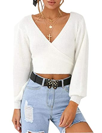 26e6829950e0 Relipop Women's Cropped Sweater Wrap Front Long Sleeve Back Knot White  Casual Tops at Amazon Women's Clothing store: