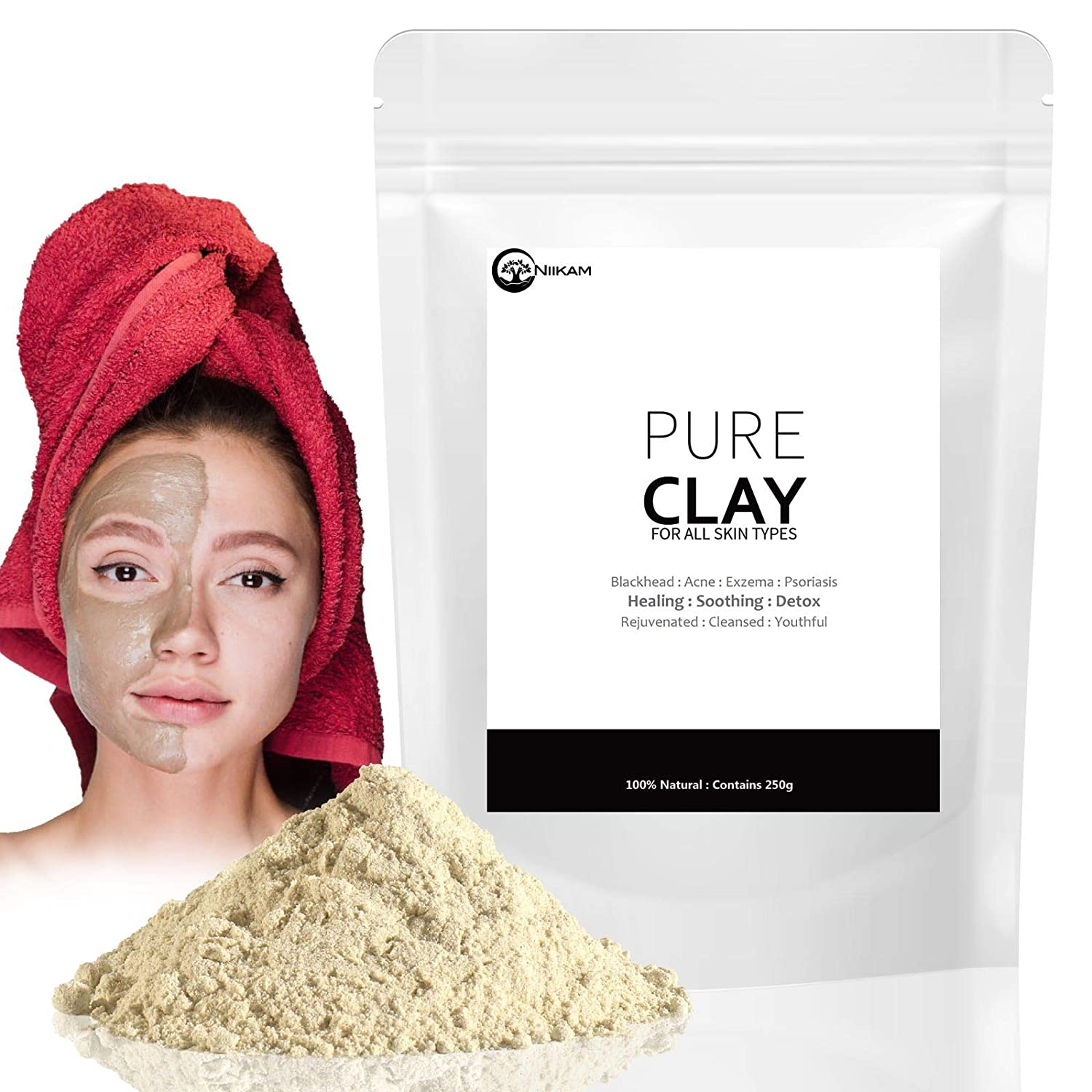 Bentonite Clay Healing Clay Clay Mask | Blackheads Scar Acne Spot Anti Aging Blemish | Men & Women 250g Niikam LTD