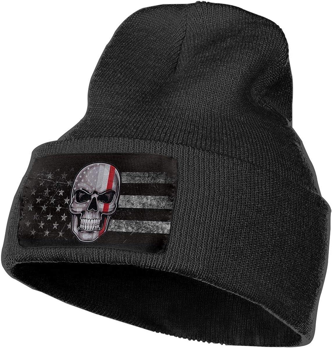 Thin Red Line Flag American Skull Mens Beanie Cap Skull Cap Winter Warm Knitting Hats.