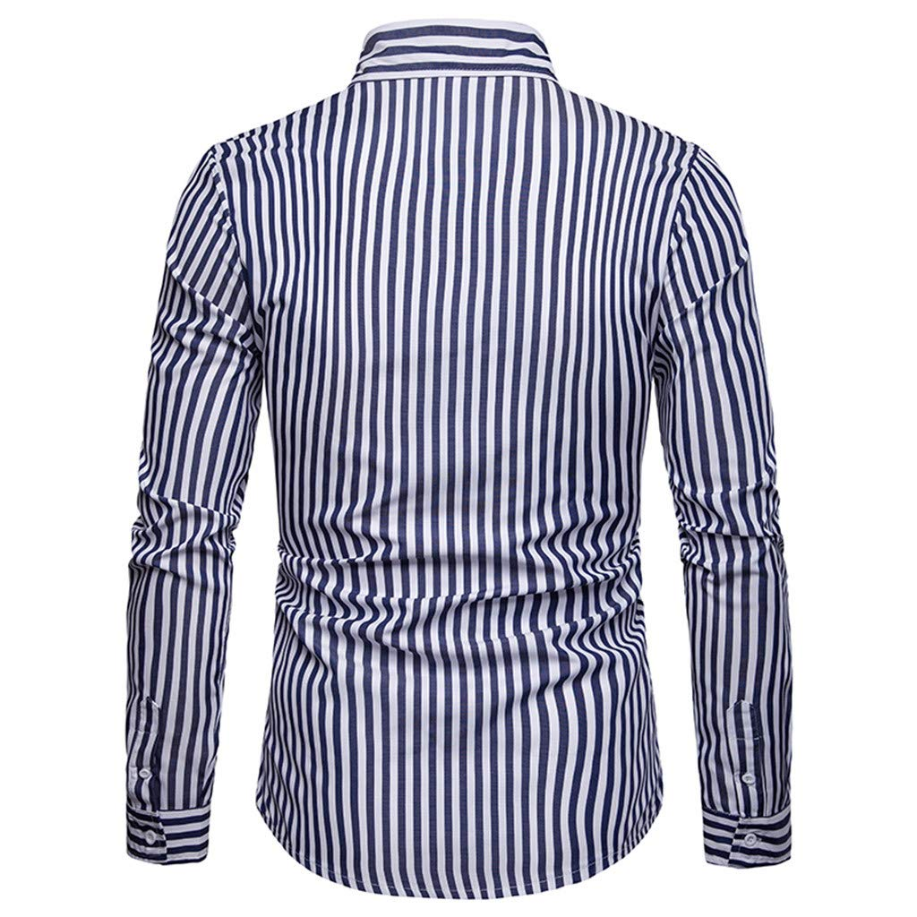 Corsion Mens Casual Long Sleeve Stripe Blouse Male Slim Fit Top Basic Shirt