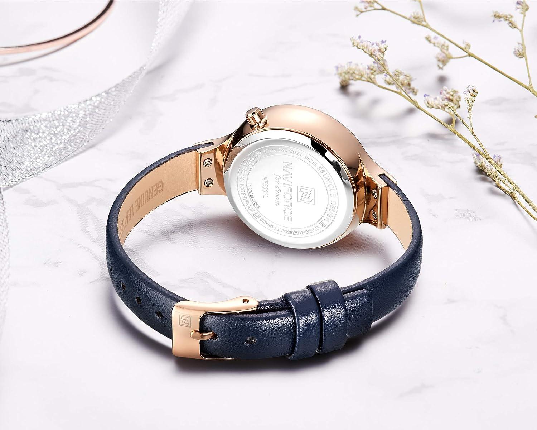NAVIFORCE Montres pour Femmes, Mouvement à Quartz Multifonctions 3ATM étanche à la Mode Slim Minimalist Casual Montre-Bracelet 5001 Rg/Be/Be