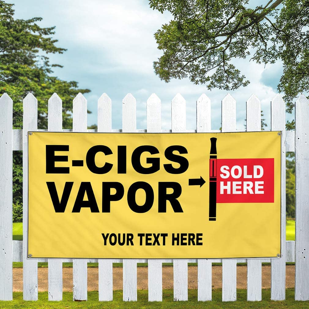 Custom Industrial Vinyl Banner Multiple Sizes E-Cigs Vapor Sold Here Style A Personalized Text Funny and Novelty Outdoor Weatherproof Yard Signs Black 10 Grommets 60x120Inches