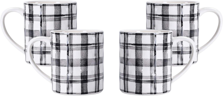 Bico Black and White Plaid Ceramic Mugs, Set of 4, for Coffee, Tea, Drinks, Microwave & Dishwasher Safe