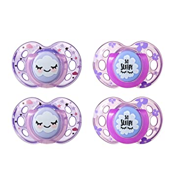 Tommee Tippee Closer to Nature Night Time Orthodontic Toddler Soothie Pacifier, 18-36 Months - Pink, Girl, 4 Pack