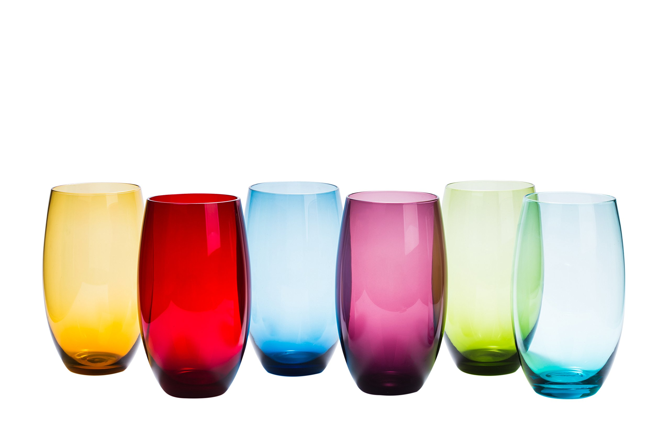 High Ball Tumbler Assorted Colored Drinking Glasses Set of 6