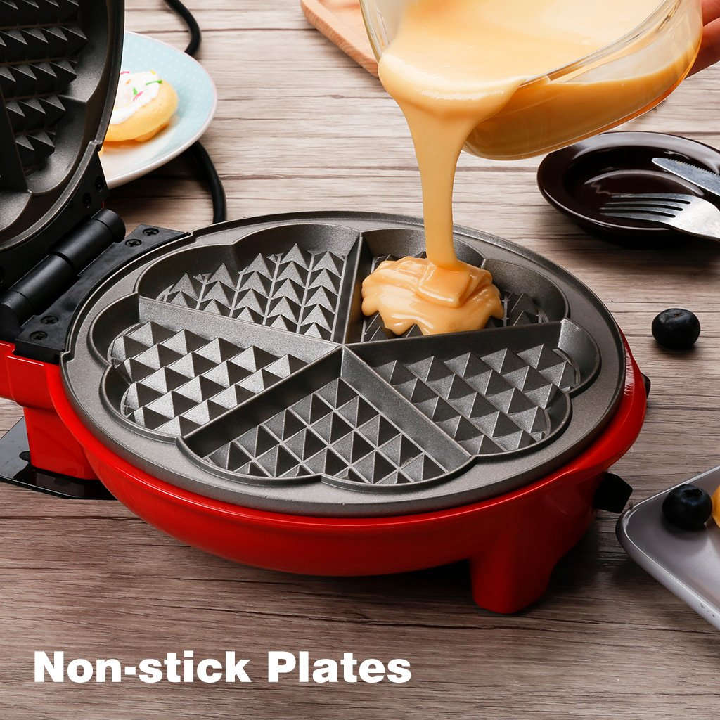Finether Waffle Maker Machine, Multi-Plate Waffle Iron, Mini 3-in-1 Non-Stick Snack Maker Adjustable Temperature, Easy to Clean, Cord Wrap & Cool Touch Handle, Red by Finether (Image #6)