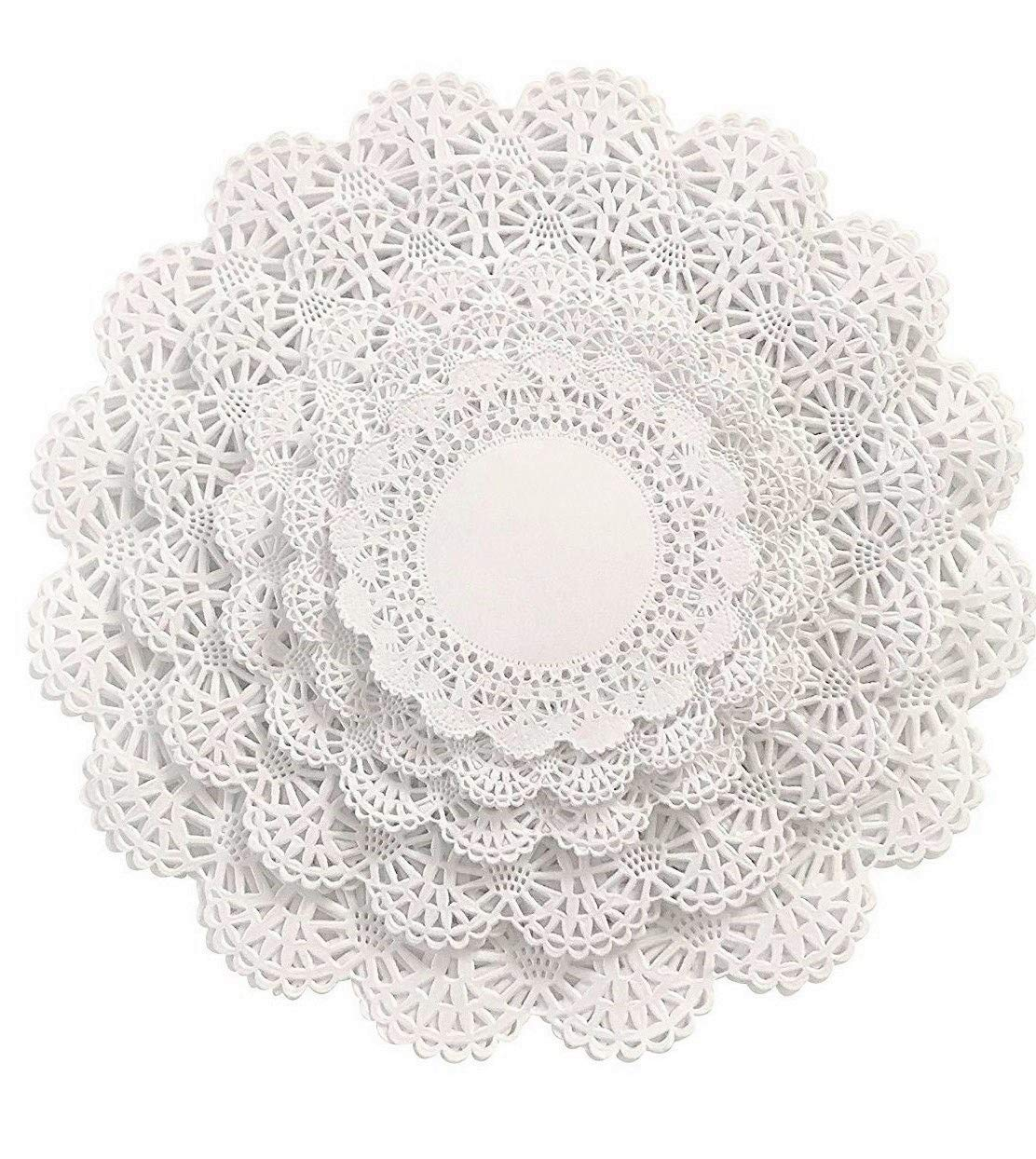 The Baker Celebrations 150 Paper Lace Doilies Variety Pack 30 Each of 4, 5, 6, 8, and 10 inch (30 of Each Size) White Assorted Sizes