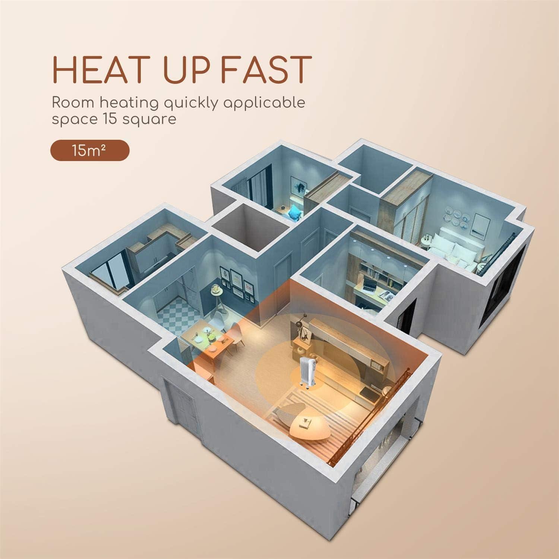 dispone de 3 ajustes de potencia y control termost/ático de temperatura Bajo Consumo 1500 Watios Radiador de aceite de 7 elementos Silencioso Aigostar Carl Ahorro de energ/ía