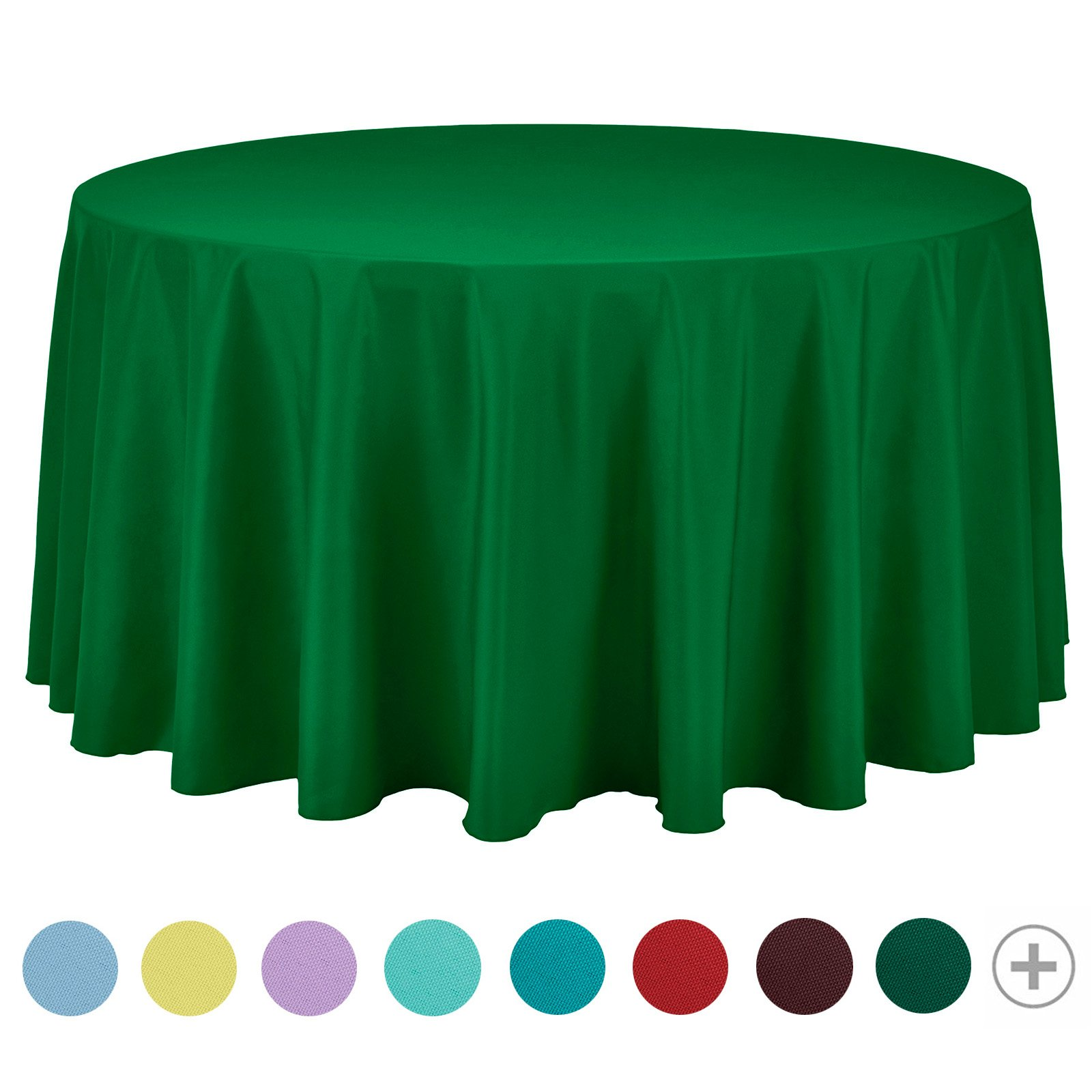 VEEYOO Tablecloth 108 inch Round Solid Polyester for Restaurant Party Bistros Buffet Table Baby Shower Kitchen Accessories, Green