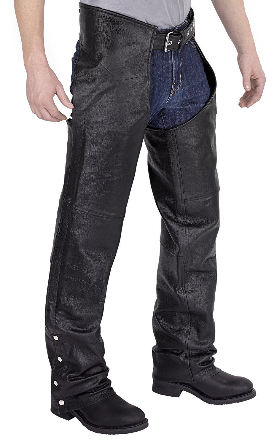 Viking Cycle Leather Chaps - Plain Motorcycle Leather Chaps for Men product  image 7655af9b6