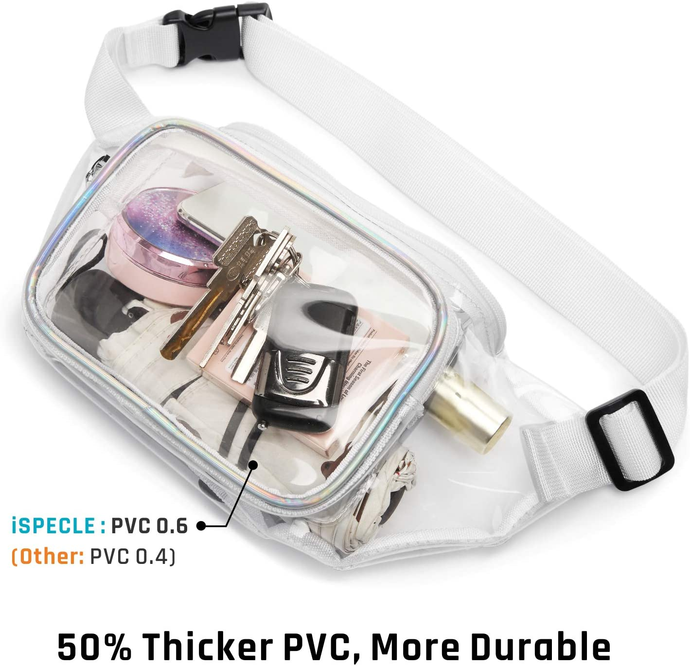 iSPECLE 2 Pack Clear Bag for Stadium Approved Black NCAA Clear Fanny Pack Adjustable Waist Strap for Clear Purse PGA