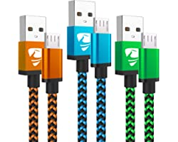 Micro USB Cable Aioneus Fast Android Charging Cord 6FT 3Pack Charging Cable Braided Charger Cord for Samsung Galaxy S7 Edge S