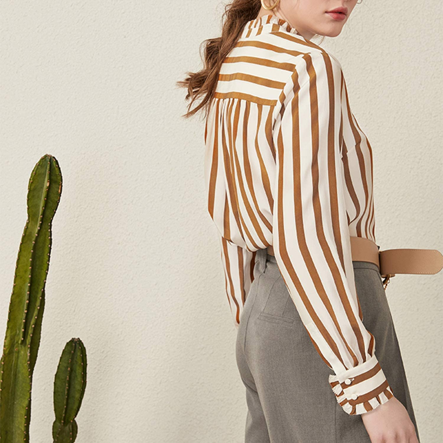 QYQCX Ladies Orange Striped Silk Long Sleeve Shirt
