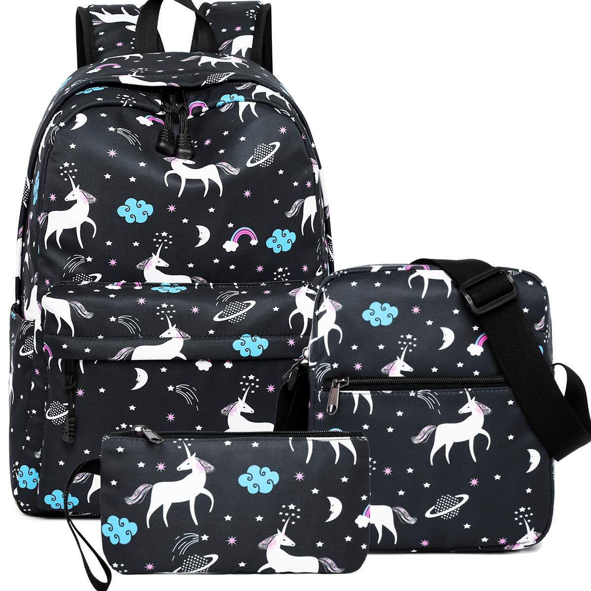 Unicorn Backpack for Teen Girls, Dreampark Student Bookbag for Girls Shoulder Bags and Pen Case Back to School (Black)