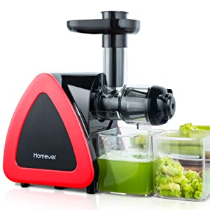 Homever Juicer Machines, Slow Masticating Juicer for Fruits and Vegetables, Quiet Motor, Reverse Function, Easy to Clean Hight Nutrient Cold Press Juicer Machine with Juice Cup & Brush, BPA-Free