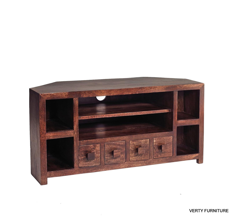 Mango Living Room Furniture Dakota Mango Furniture Corner Tv Unit With Shelves Living Room