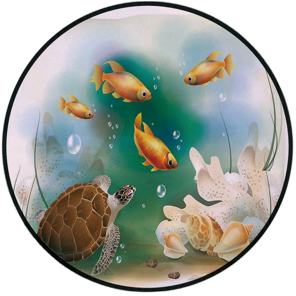 Printing Round Rug,Turtle,Artistic Ocean Life Illustration Aquarium Tropical Animals Goldfishes and Seashells Mat Non-Slip Soft Entrance Mat Door Floor Rug Area Rug For Chair Living Room,Multicolor