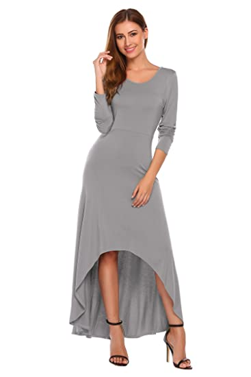 d6aedd427a8 Image Unavailable. Image not available for. Color  Hersife Women s Round  Neck Long Sleeve Fit and Flare Flowy Hi Low Long Maxi Dress