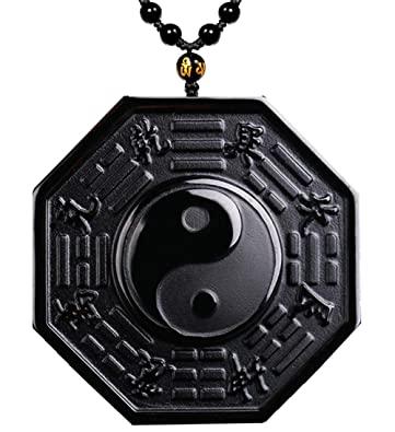 6eed37c099b31 MOHICO Black Obsidian Pendant Necklace, Tai Chi Obsidian Amulet ...