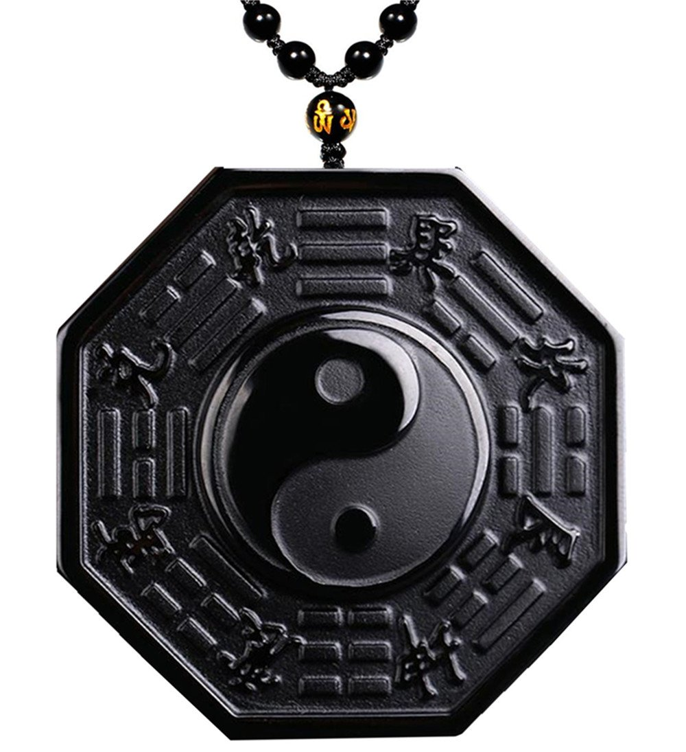 MOHICO Black Obsidian Pendant Necklace, Tai Chi Obsidian Amulet Chain Yin Yang Pendant Necklace, Engraving Crystal Natural Black Obsidian Stones Gossip Pendant Extend Bead Chain for Men Or Women