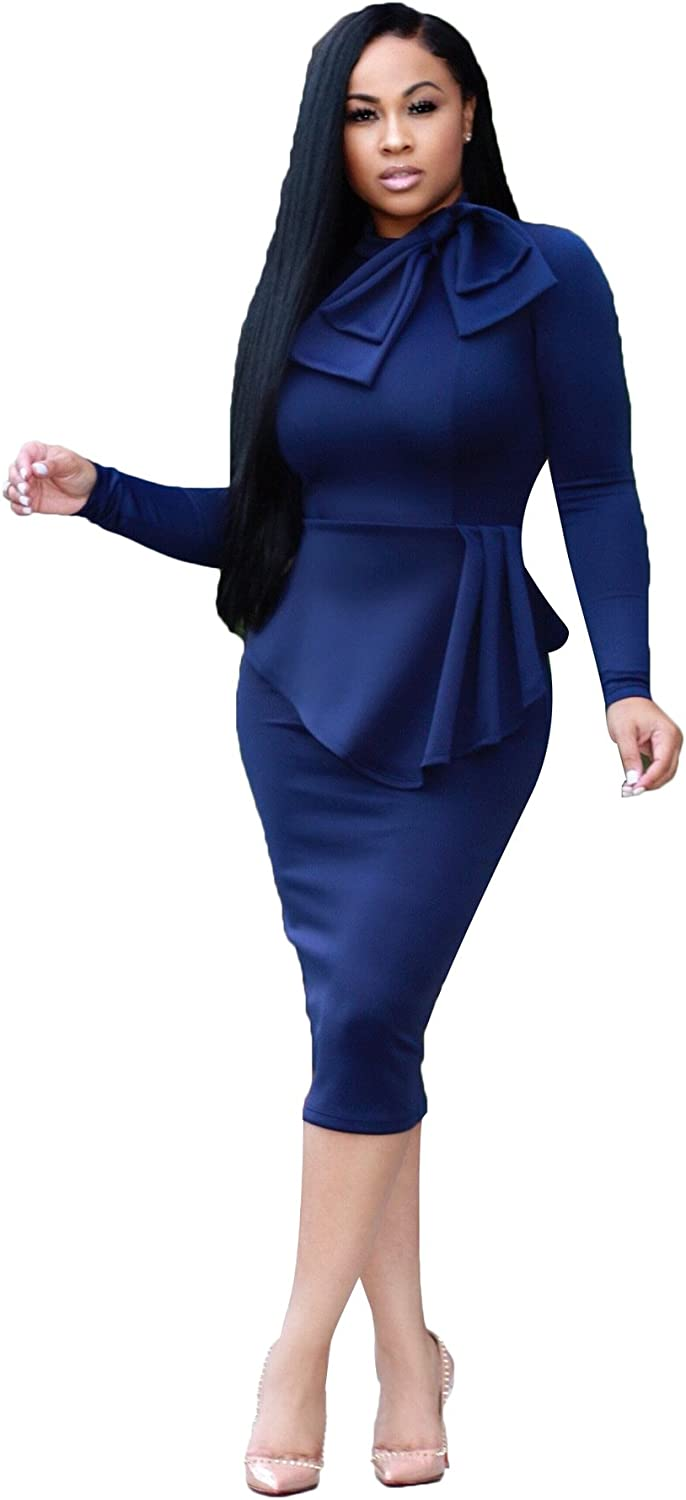 VERWIN Double-Layered Tie Neck Plain Long Sleeve Warm Women's Bodycon Dress Midi Dress for Party, Cocktail,Club Casual Dress