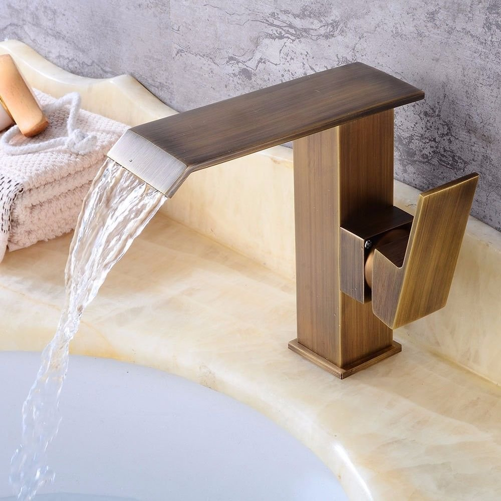 Lalaky Taps Faucet Kitchen Mixer Sink Waterfall Bathroom Mixer Basin Mixer Tap for Kitchen Bathroom and Washroom Square Waterfall Hot and Cold Single Hole Single Handle