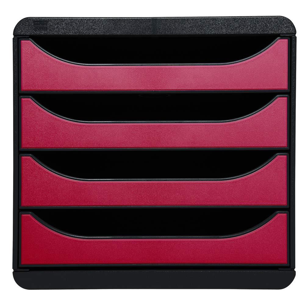 Exacompta 310434D-Big Box Module de Classement 4 Tiroirs Noir//Rouge M/étallis/é