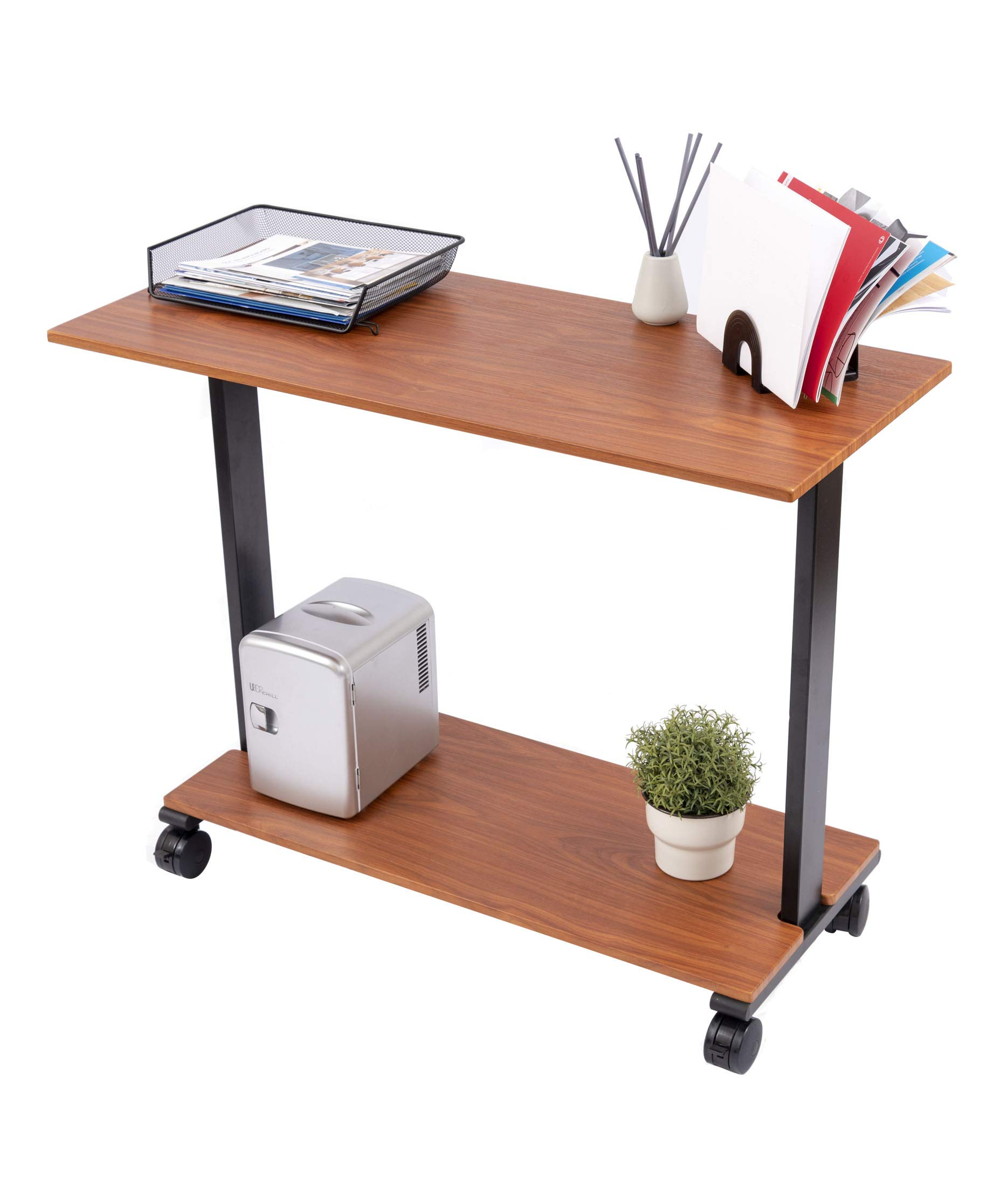 Stand Up Desk Store Two Level Rolling Printer Stand/Desk Shelf   Increase Usable Desk Space While Making Room for a Printer and Supplies (42'', Teak)